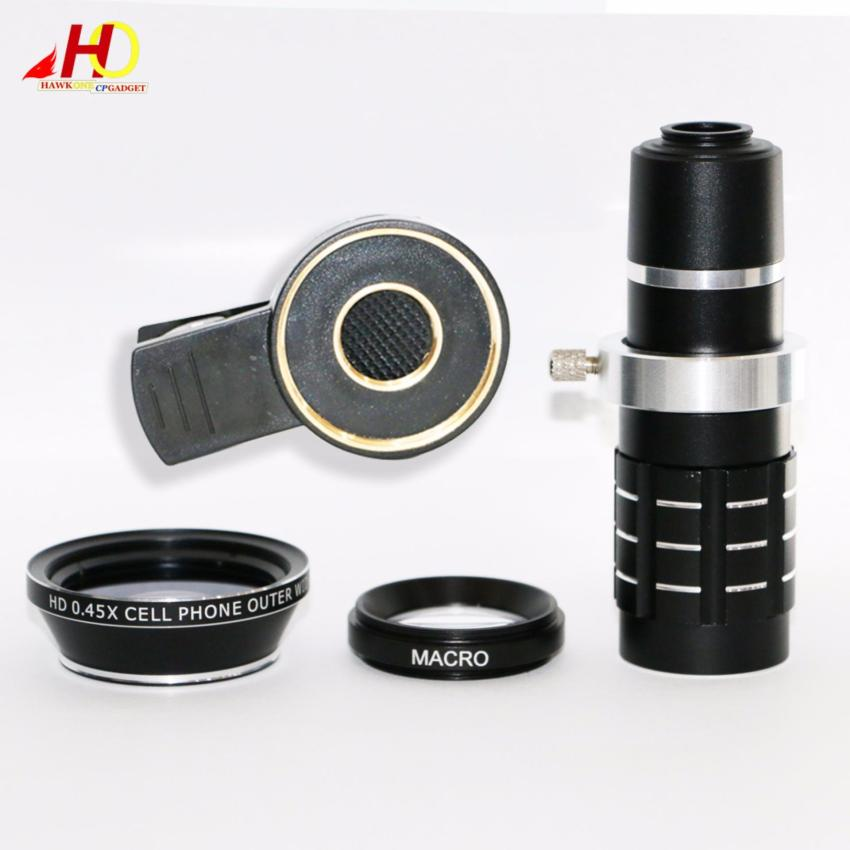f9493d8f5de94c 12X Zoom Clip-on Long Focus Telescope Lens with HD 37mm 0.45X Cell Phone  Outer Wide Angle Lens Macro (Black) | Lazada PH