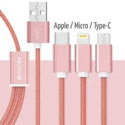 1M 3 In 1 Data Cable Nylon Coated (Rose Gold)