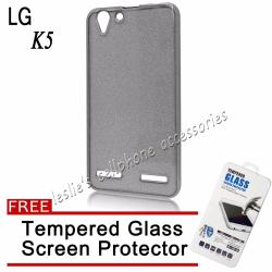 2 in 1 Litters Plating Gilded TPU Soft Case for LG K5 (Black) with Free Tempered Glass Screen Protector