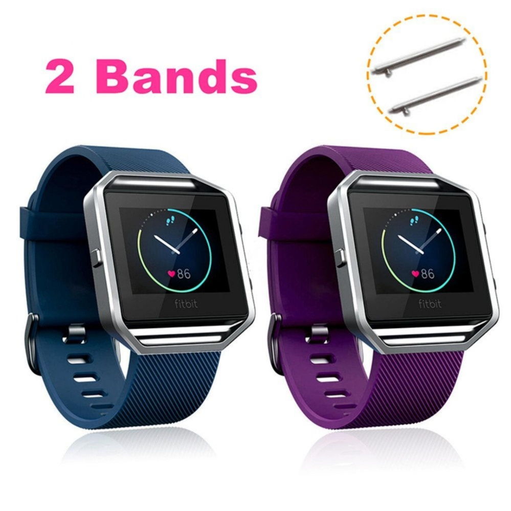 2-PACK Soft Silicone Replacement Adjustable Sport Strap with Quick Release Pins for Fitbit Blaze