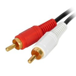 2 RCA Male to 2 RCA Male Connection Cable (Black/White/Red)