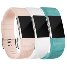 3 PACK Multi Colors Soft Silicone Adjustable Replacement Sport Strap Band for Fitbit Charge 2 Wristband