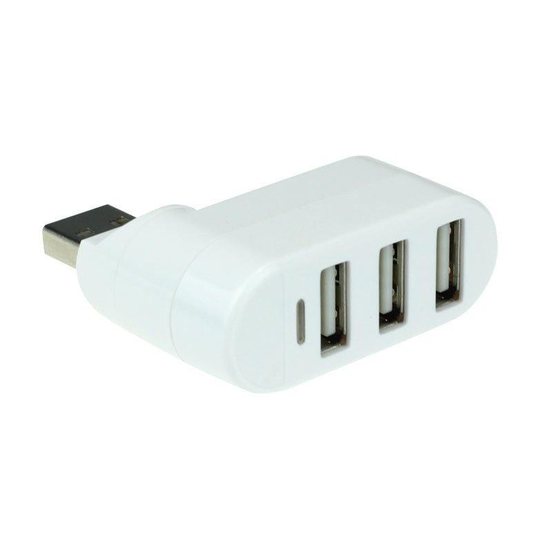 3 Ports Hub USB 2.0 Mini Rotate Splitter Adapter for PC Notebook Laptop White - thumbnail