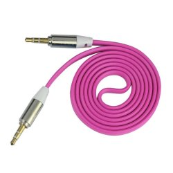 3.5mm Stereo Auxiliary Cable Male to Male Flat Audio Music Aux Cord Hot Pink