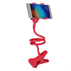 360 Degree Flexible Long Arms Mobile Phone Holder Desktop Bed Lazy Bracket Mobile Stand with Clip (Red)