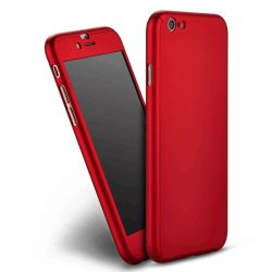 360 Full  Cover Case with Tempered Glass for iPhone 6G/6S(Red)