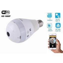 360 Wide Angle Fisheye WiFi IP Hidden Camera Bulb LED Light 1080PHD Indoor Spy Security Camera for Android IOS APP Remote View SpyNanny Camera - intl
