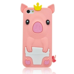 3D Cute Pig with Crown Design Soft Silicone Protective Case Cover Shell for Apple iPhone 5C + 1pcs Phone Radiation Protection Sticker - Pink