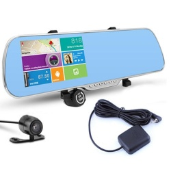 5 Inch Touch Screen Car DVR Android GPS WiFi FM Parking Rearview Mirror HD Dash Cam Dual Camera DVR - intl