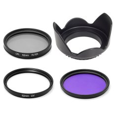 52mm Lens Hood + Uv Cpl Fld Filter Set For Nikon D5300 D3300 D3200 D3100 By Xcsource Shop.