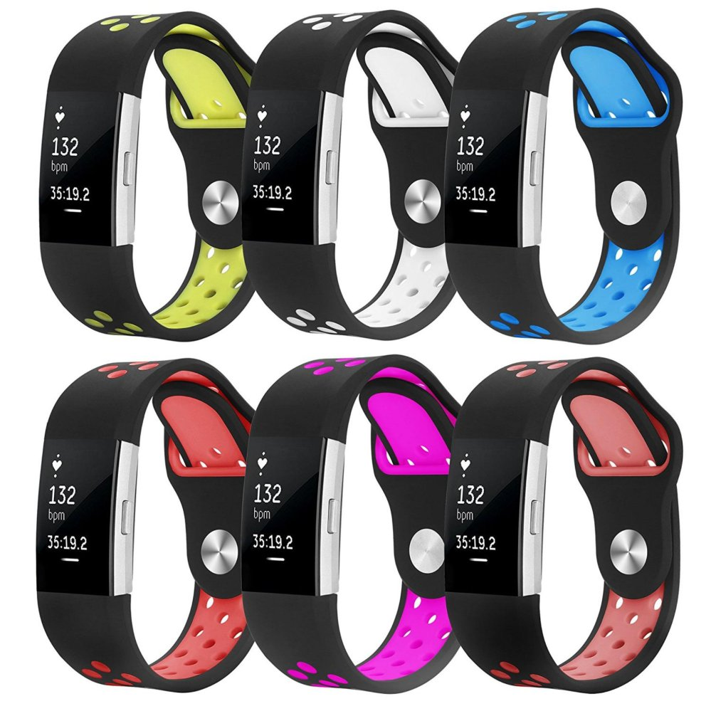 6 PCS Soft Silicone Replacement Adjustable Sport Strap for Fitbit Charge 2 HR Heart Rate +