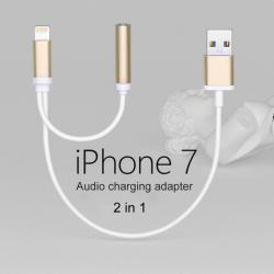 8 Pin Adapter Cable for iPhone 7 / iPhone 7 Plus to Earphone Jack and Charger (Gold)