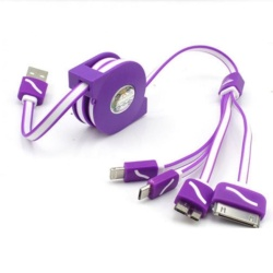 80Cm 4 In 1 Retractable Data Cable For Iphone/Ipad/Samsung Note/Smartphone (Purple) Plus Free Awei Es70Ty Super-Bass Noise-Isolating In-Ear Headphones (Black)
