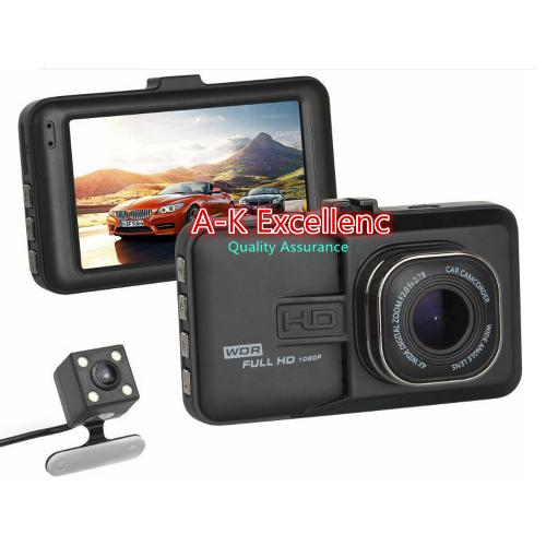 "A-K Excellence  Night Vision Full HD 1080P Front And Back Dual cameras 3.0 ""Car DVR Dash Cam G Sensor Auto Black Box AK-7227"