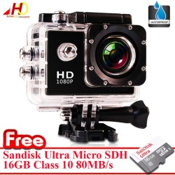A7 Ultimate Sports Action Cam Under Water Extreme (Black) w/ FREE SanDsk Ultra microSDHC 16GB Class10 80MBs