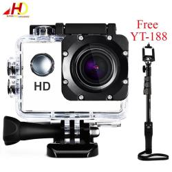A7 Ultimate Sports Action Cam Under Water Extreme (White) with FREE YunTeng YT-188 Universal Monopod for Mobile Phones and Sports Cameras (Black)