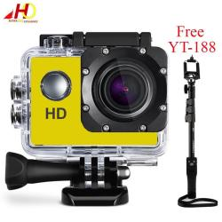 A7 Ultimate Sports Action Cam Under Water Extreme (Yellow) with FREE YunTeng YT-188 Universal Monopod for Mobile Phones and Sports Cameras (Black)