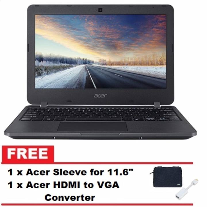 "Acer TravelMate TMB117-M-C42K 11.6"" Intel Celeron N3160 2GB Windows 10 Laptop Netbook (Black) with FREE Acer HDMI to VGA converter and Acer Sleeve"