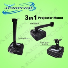 Aesopcom 3 In 1 Ceiling/wall/flush Projector Bracket Mount(black) By Aesopcom.