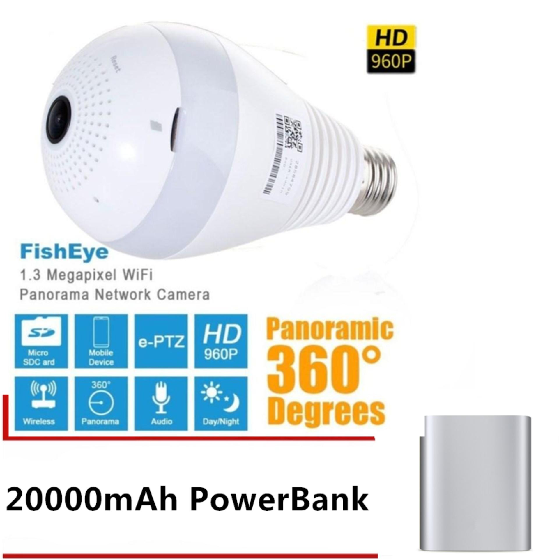 AK  Light Bulb 360 degree CCTV IP Camera FREE 20000 mAh Power Bank