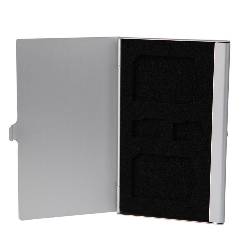 Aluminum 2 SD+ 2TF Micro SD Cards Pin Storage Box (Silver) - intl