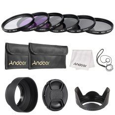 Andoer 52mm Lens Filter Kit Uv+cpl+fld+nd(nd2 Nd4 Nd8) With Carry Pouch / Lens Cap / Lens Cap Holder / Tulip & Rubber Lens Hoods / Cleaning Cloth Outdoorfree By Outdoorfree.