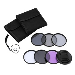 Andoer 55mm UV+CPL+FLD+ND(ND2 ND4 ND8) Photography Filter Kit Set Ultraviolet Circular-Polarizing Fluorescent Neutral Density Filter for Nikon Canon Sony Pentax DSLRs - intl