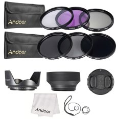 Andoer 58mm Lens Filter Kit Uv+cpl+fld+nd(nd2 Nd4 Nd8) With Carry Pouch / Lens Cap / Lens Cap Holder / Tulip & Rubber Lens Hoods / Cleaning Cloth By Tomtop.