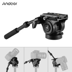 Andoer VH05 Camera Camcorder Tripod Head Fluid Drag Pan/Tilt Head with Quick Release Plate Aluminum Alloy Support 5kg/11Lbs for Canon Nikon Sony A7 Panoramic Photo Video - intl