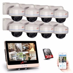 ANRAN 8 Channel POE NVR 1080P IP Camera Video Security System Weatherproof Dome Cameras 2TB HDD