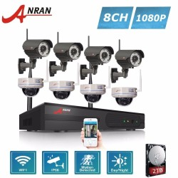ANRAN 8CH 1080P HD Wireless Camera Surveillance System 4pcs Outdoor Bullet & 4pcs Indoor Dome 2.0MP Wifi IP Security Camera