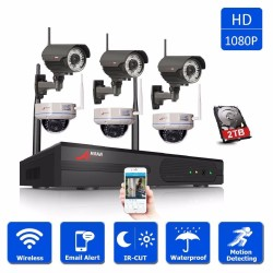 ANRAN 8CH 1080P Wireless NVR Surveillance System 3pcs Outdoor Bullet + 3pcs Indoor Dome 2.0MP Wifi IP Security Camera