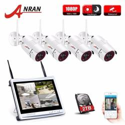 "ANRAN 4CH Wifi CCTV System 12"" LCD NVR Kit P2P 960P HD IR Night Vision Surveillance IP Camera Outdoor Security Camera System"