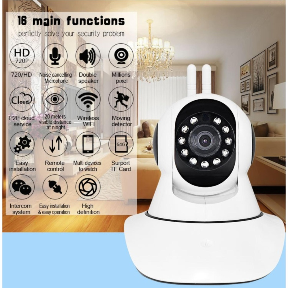 APP-Link V-380 APP-X5-2/VA-Q4 Dual Antenna Smart Home CCTV WIFI IP Camera (White)