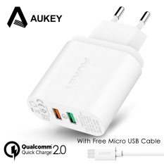 AUKEY 30W Mobile Phone Charger QC 2.0 Quick Charge Tech Wall Charger USB Dual Ports Universal