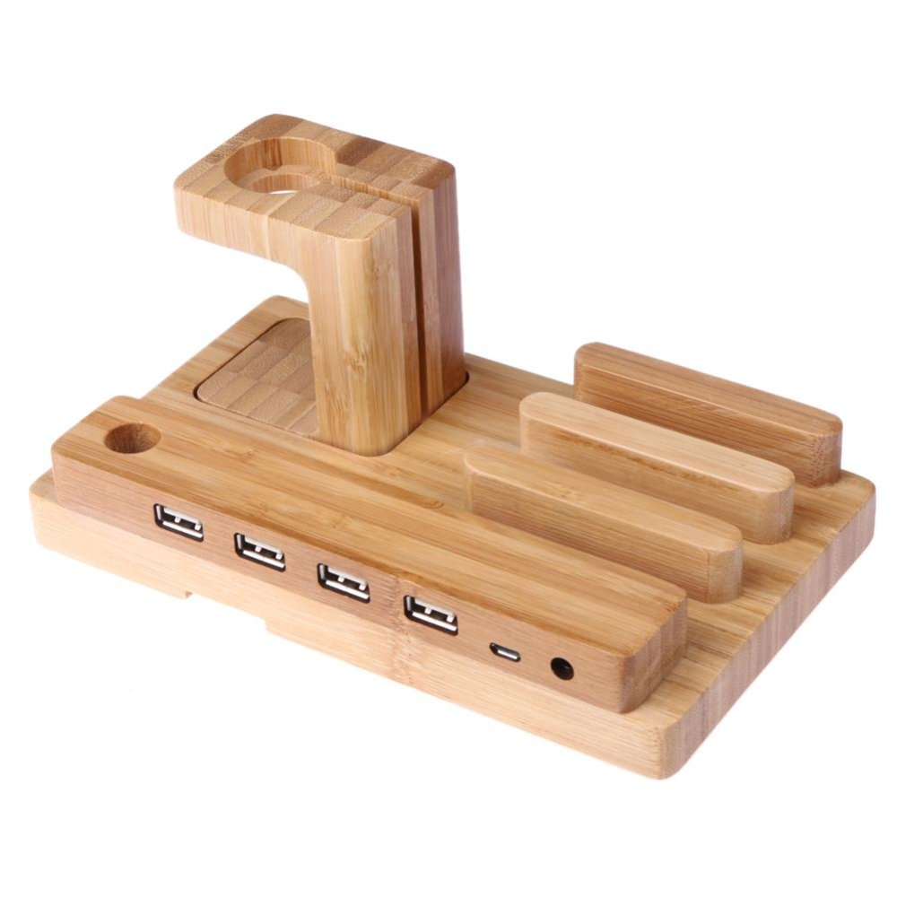 Bamboo Wood Phone Docking Station Bracket with 4 Ports for Apple Watch iPhone - intl