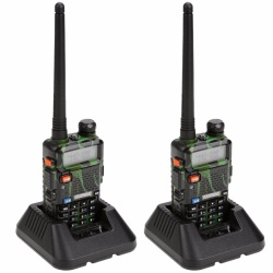 Set of 2 Baofeng UV-5R Dual Band 136-174/400-480 MHz FM Two-Way Radio (Green/Camouflage)