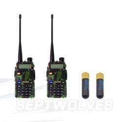 Baofeng Walkie Talkie Dual Band Radio Set of 2(Camouflage)UV5R Free Two 805S Short Antenna