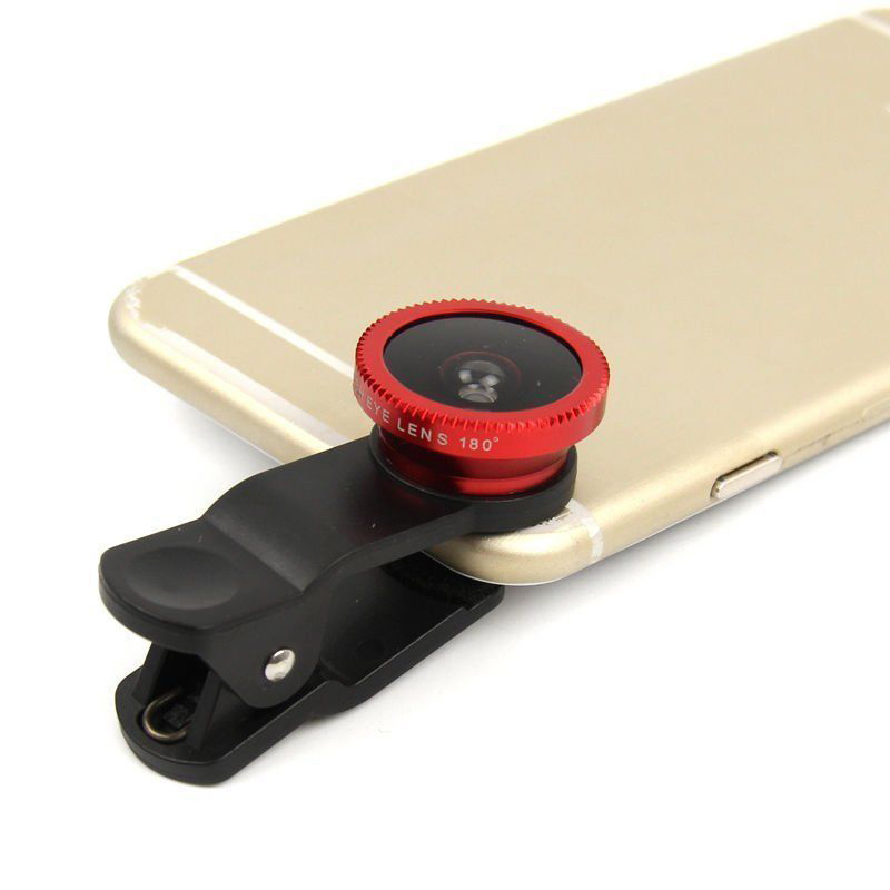 Buytra 3 in 1 Universal Clip On Camera Lens For Cell Phones (Red) product preview, discount at cheapest price