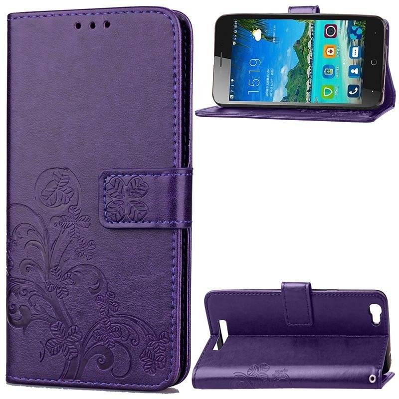 ZZOOI BYT Flower Debossed Leather Flip Cover Case for ZTE Blade A610 - Int'l