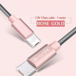 Ca250 2-In-1 Data Cable For Ios/Android (Rose Gold) With Free B-5 Mini Portable Bluetooth Speaker (Silver)