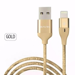 Cb062 Lightning Data Cable - For Iphone (Gold) Plus Free Awei Es70Ty Super-Bass Noise-Isolating In-Ear Headphones (Black)