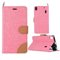 Denim Fabric Skin PU Leather Stand Case for Lenovo A7000 / A7000 Plus