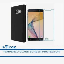 Dual Pro Shockproof Case for Samsung Galaxy J7 Prime (Black) with FREE Tempered Glass Screen Protector (Clear)