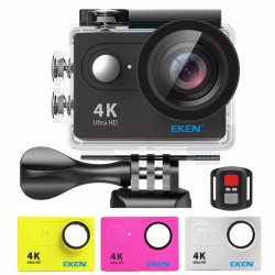 EKEN H9Rse Ultra HD 4K Wi-Fi Waterproof Sports Action Camera & 2.4G Splash proof Remote Shutter (Black) with 3 Pieces EKEN H9 Front Skin Covers (Multi-Color)