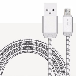 Electroplated Usb Data Cable (Silver) plus Free B-5 Mini Portable Bluetooth Speaker (Silver)