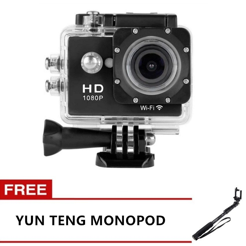 Etcam Etc7 12Mp Wifi Sports Action Camera (Black) With Free Yunteng Yt-1188 Self-Picture Monopod (Black)
