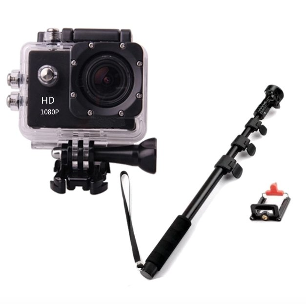 ETCAM ETC7 5MP Sports Action Camera (Black) with Yunteng YT-1188 Self-Picture Monopod (Black)