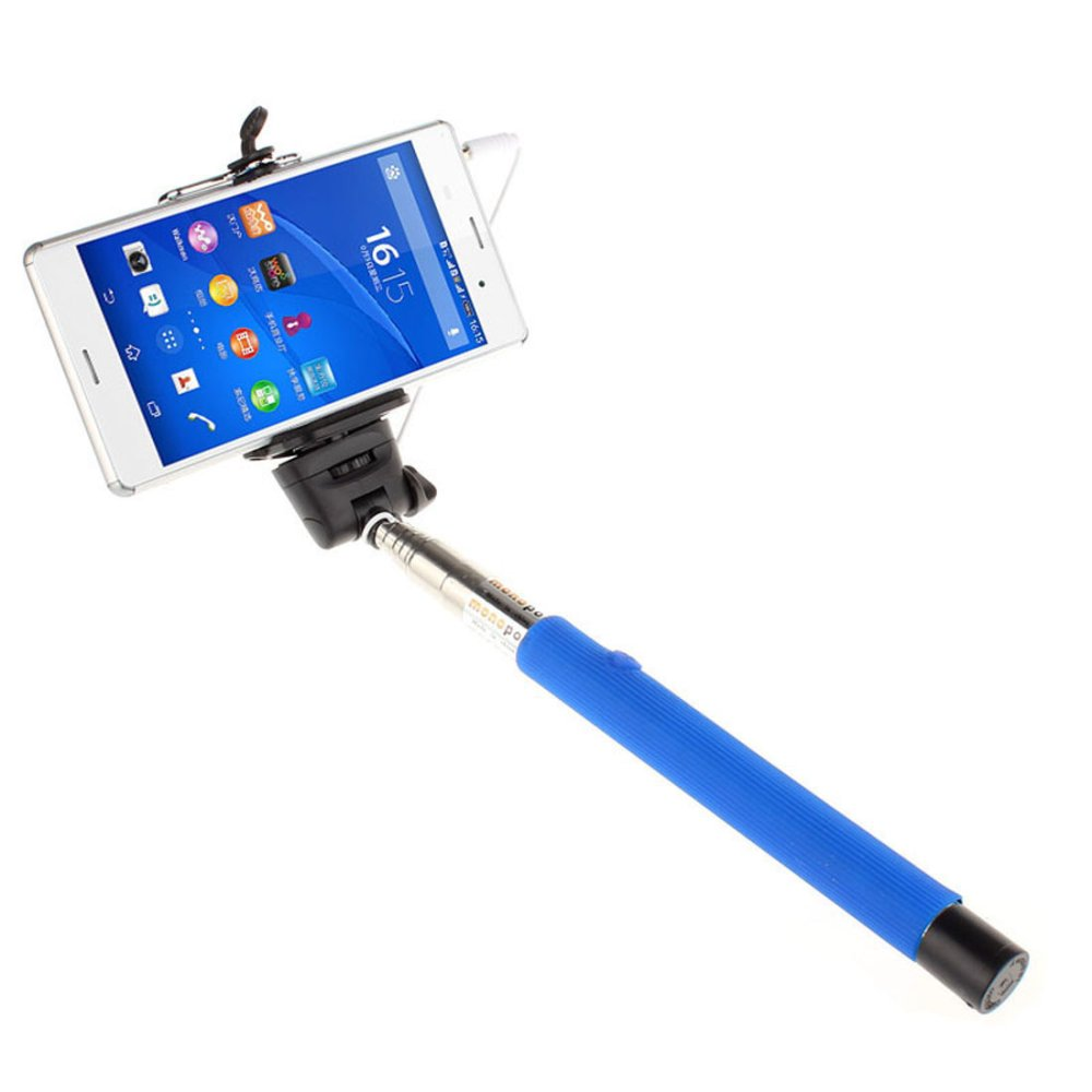 Extendable Handheld Self-portrait Monopod for IOS Android (Blue) - thumbnail