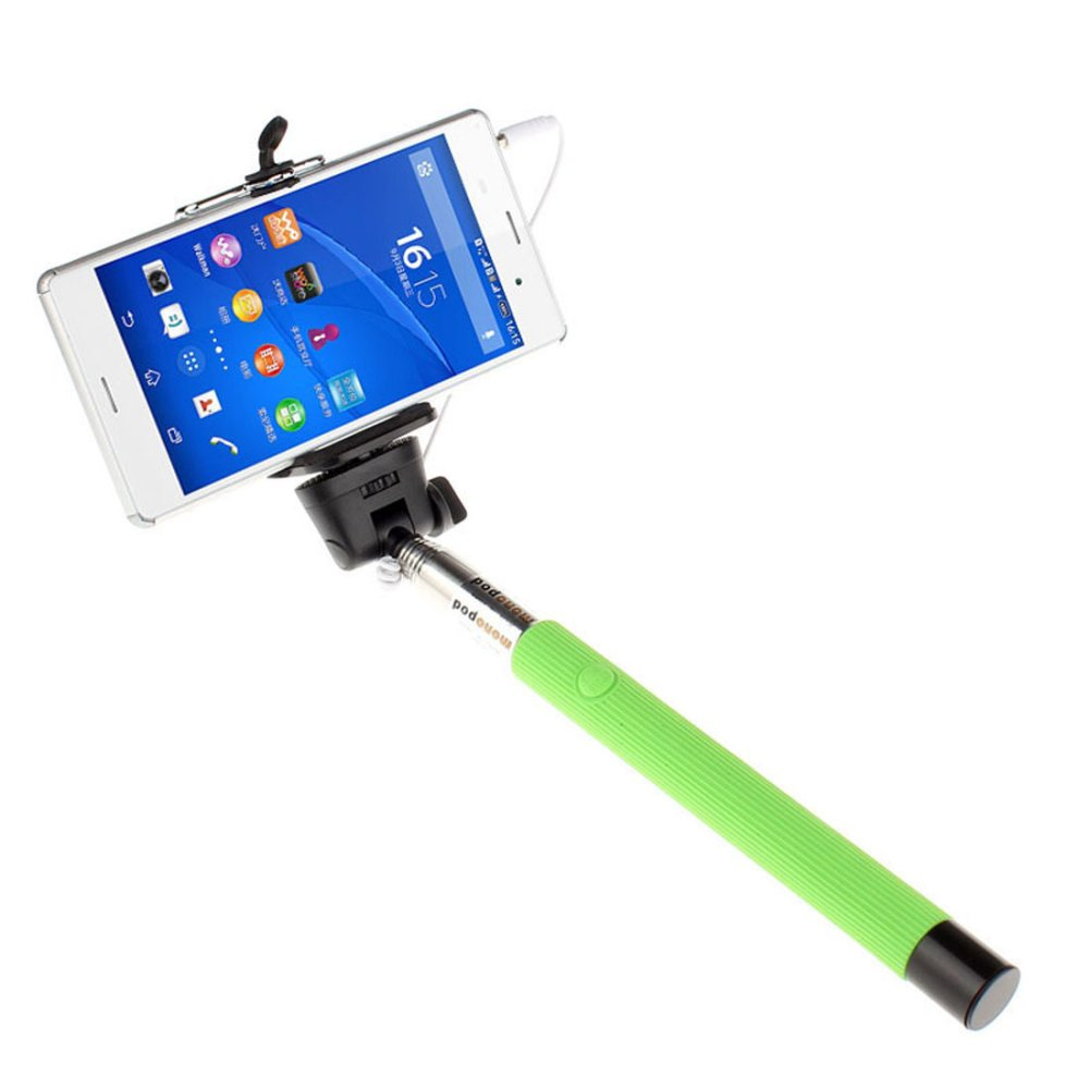 Extendable Handheld Self-portrait Monopod for IOS Android (Green) - thumbnail